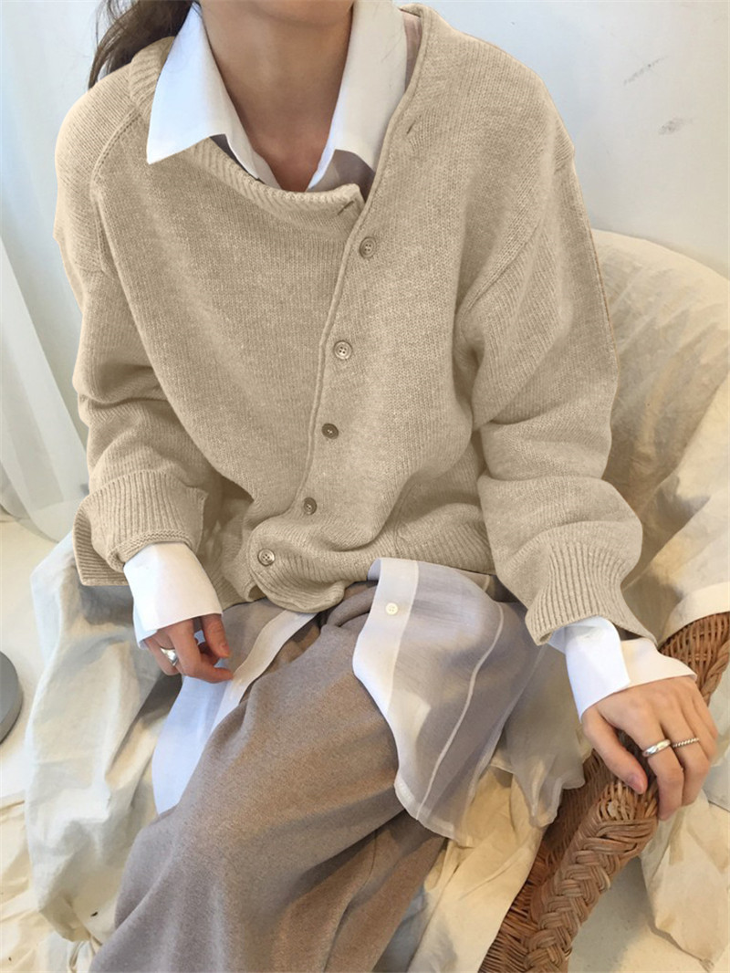 Fashion Irregular Knitwear Slanting Buckle Cardigan Winter coat