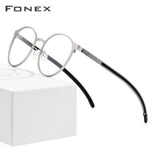 Image 1 - إطار نظارات فونكس الرجالية البصرية خفيفة الوزن مستديرة الشكل نظارات طبية لقصر النظر للنساء نظارات بدون مسامير معدنية 984