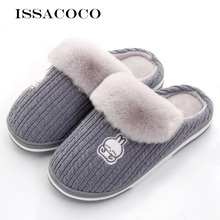 ISSACOCO New Winter Slippers Men Fluffy Fur Warm Rubber Rabbit Indoor Home Mens Casual