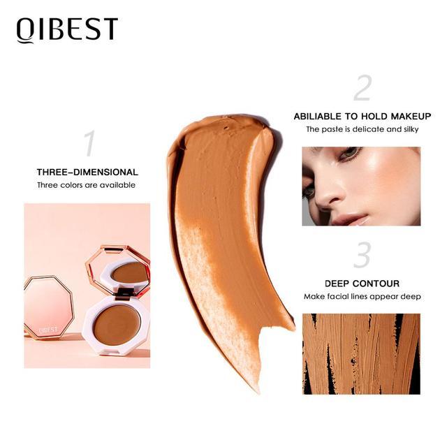 QIBEST Face Makeup Bronzer Palette Cream Silky Contouring Makeup Cosmetic Highlighter Bronzer Palette Makeup Face Illuminator 3