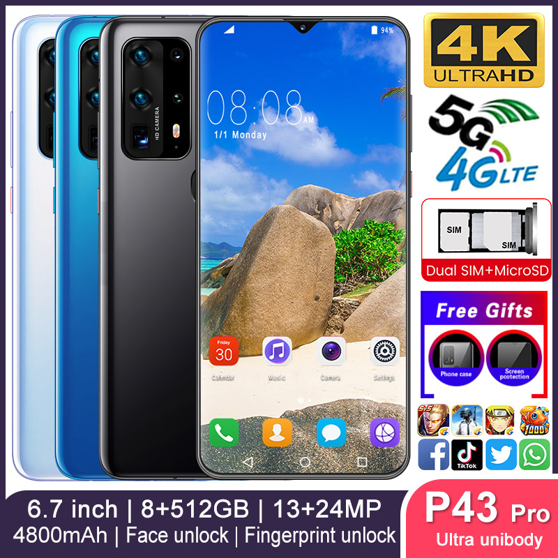 Smartphone P43pro Phones MTK6799 Deca Core 6.7inch HD Unlocked Smartphone 8GB+512GB Camera 13MP+24MP Mobile Phone 1440*3040