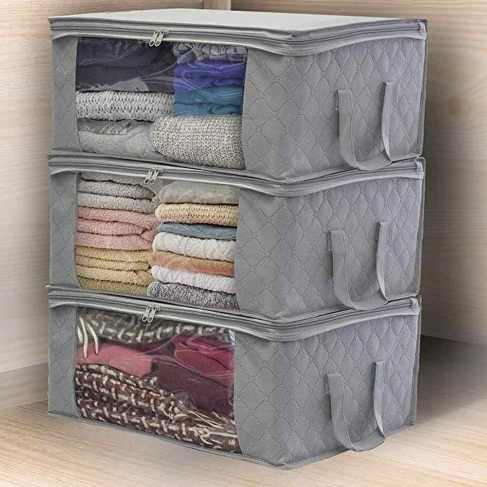 3Pcs Non-woven Foldable Portable Clothes Organizer Tidy Pouch Suitcase Home Storage Box Quilt Storage Container Bag-Grey