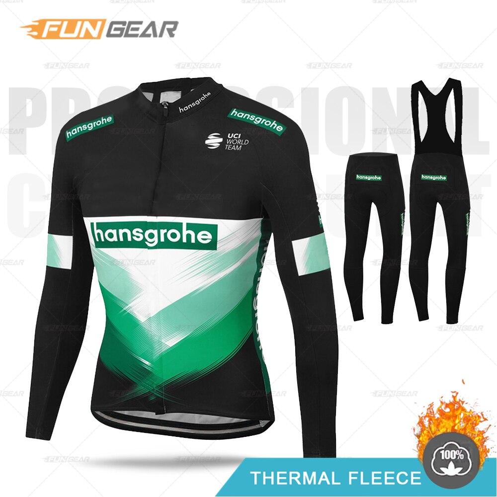 Hommes Boraful cyclisme vêtements hansgrohe manches longues ensemble de maillot Pro course thermique polaire veste vtt vêtements hiver bavoir collants Kit