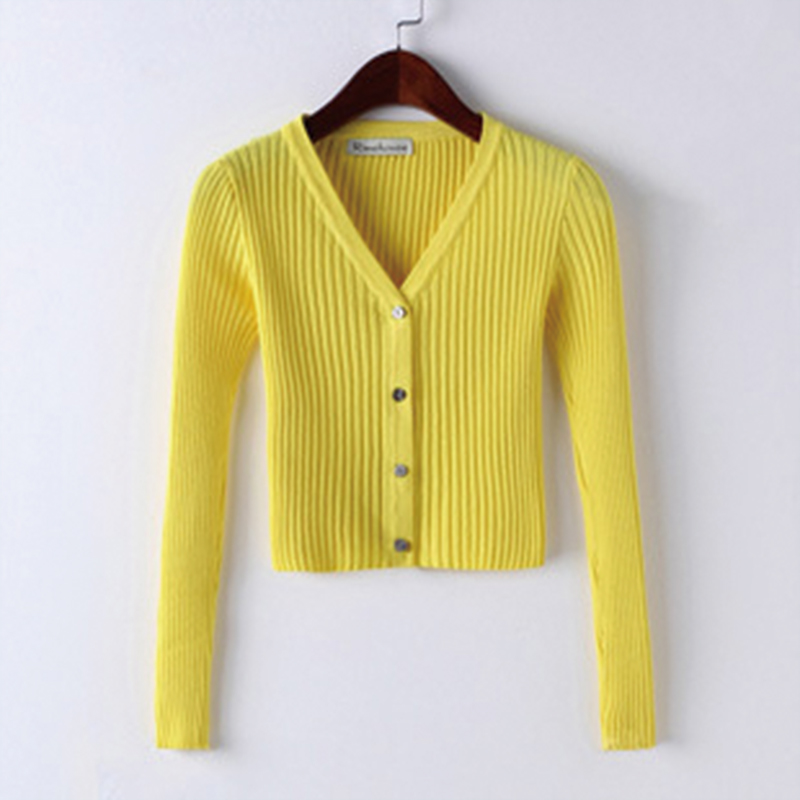 QRWR Spring Autumn Women Sweater Casual Solid Color Knitted Cardigan V Neck Long Sleeve Single Breasted Slim Fit Cardigan Women 5
