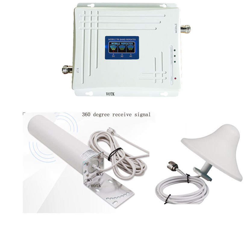 2G 3G 4G Tri Band Signal Booster Cell Phone  Network Repeater 90018002100 Signal Amplifier With 360 Degree Outdoor Antenna Set
