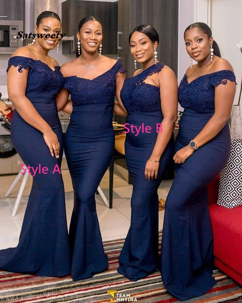 Navy Blue Long Bridesmaid Dresses 2020 V Neck Off The Shoulder Applique Lace Wedding Party Gowns Cheap Women Dress Plus Size