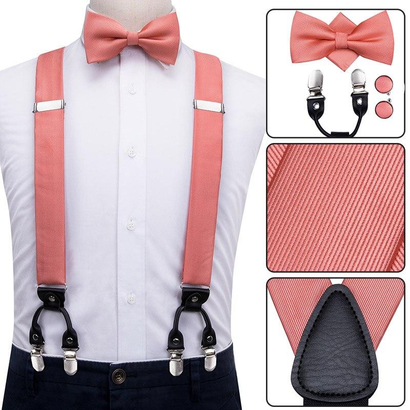 100% Silk Adult Men's Bow Tie Suspender Set Leather Metal 6 Clips Braces Elastic Suspenders Men Coral Peach Wedding Suspenders