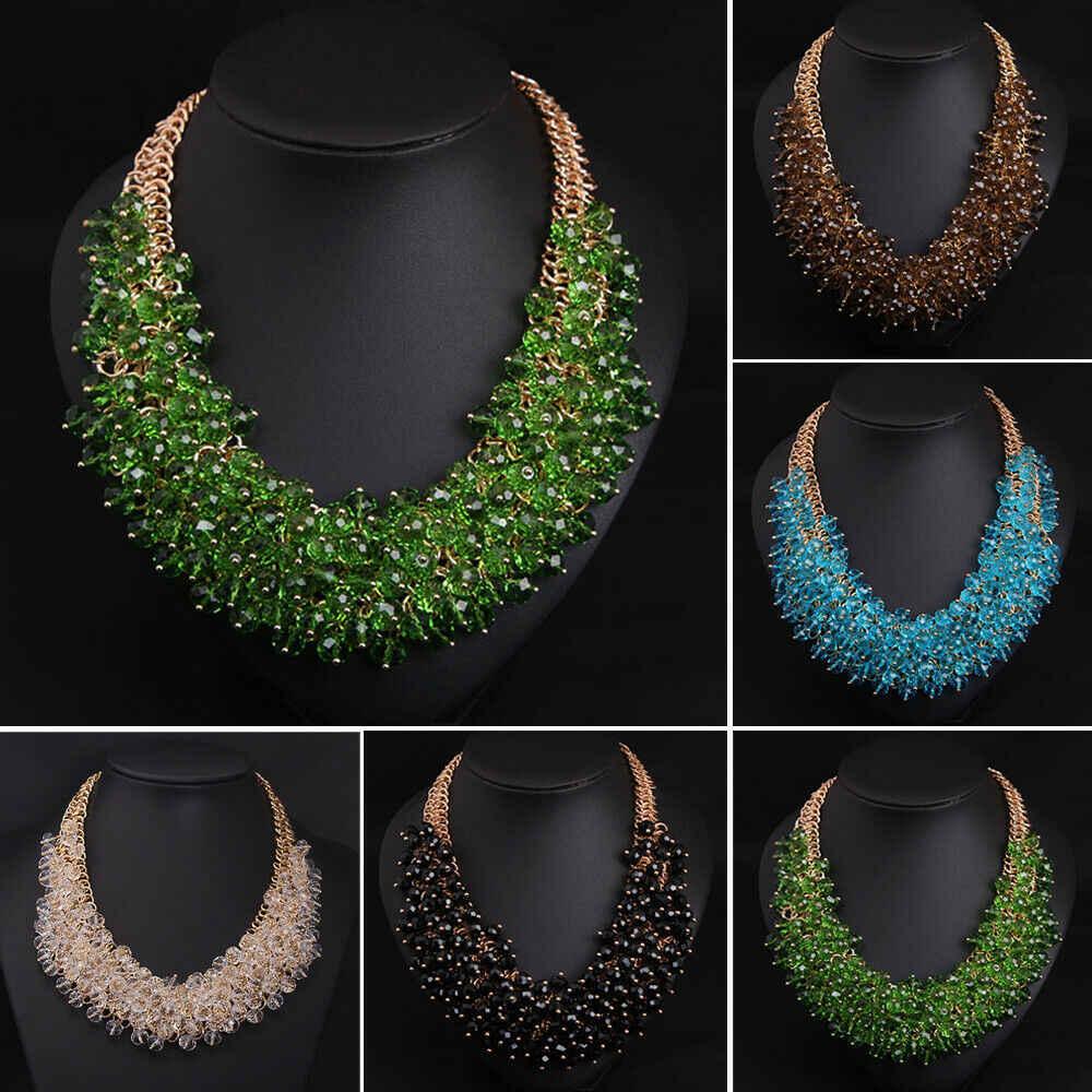 Fashion Gold Chain Glass Rhinestone Crystal Chunky Choker Statement Bib Necklace