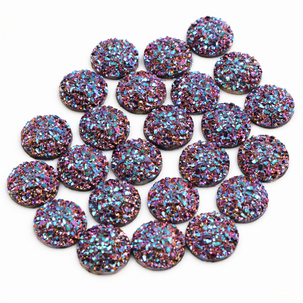 New Fashion 40pcs 12mm AB Rose Gold Color Flat Back Resin Cabochons Cameo  G4-44
