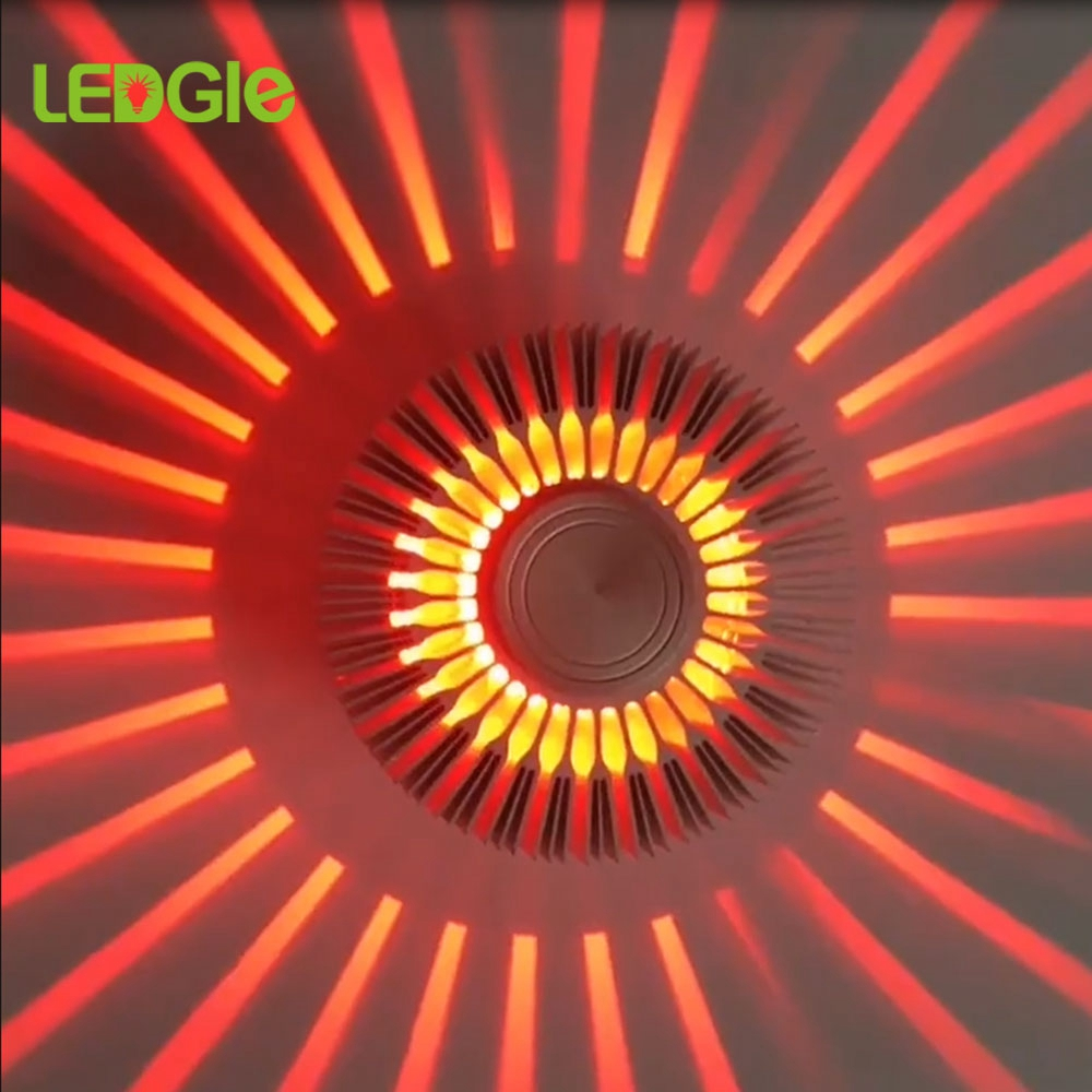 LEDGLE 3W LED Wall Light Indoor Lighting Sunflower Projection Rays Wall Sconce AC110V/220V LED Wall Lamp Bed Decor Hogar Moderno