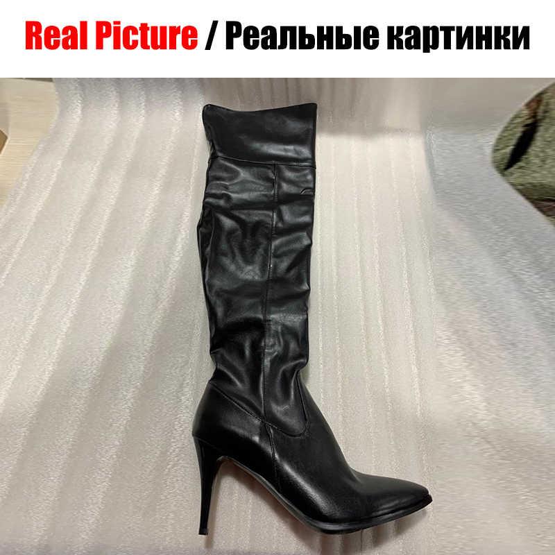 BONJOMARISA yeni artı boyutu 31-48 siyah OL diz çizmeler üzerinde seksi uyluk yüksek çizmeler kadın 2020 sivri ayak yüksek topuklu ayakkabılar kadın
