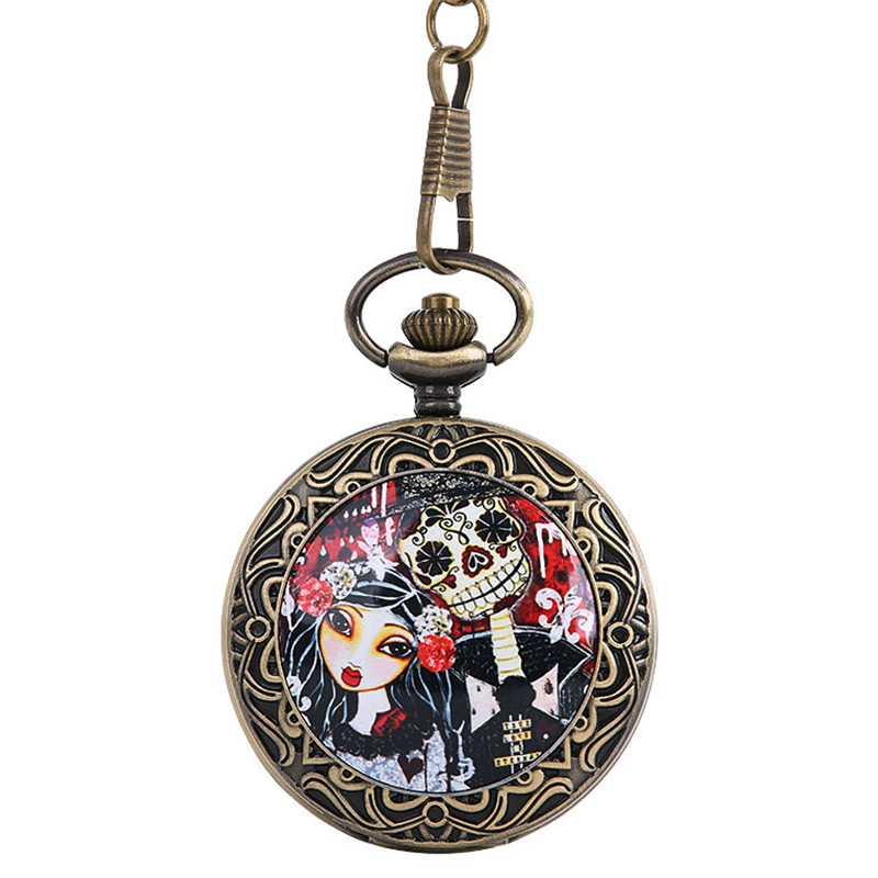 Bronze Large Thick Chain Ghost Bride Retro Pocket Watch Fashion Bride Body Theme Pocket Watch