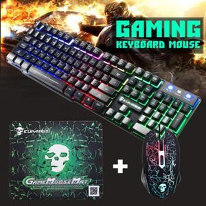 Image 2 - Teclado ergonómico T6 Rainbow retroiluminado con LED para USB de Gaming, ratón y alfombrilla de ratón con cable para PC, portátil, usuarios de ordenador Gamers