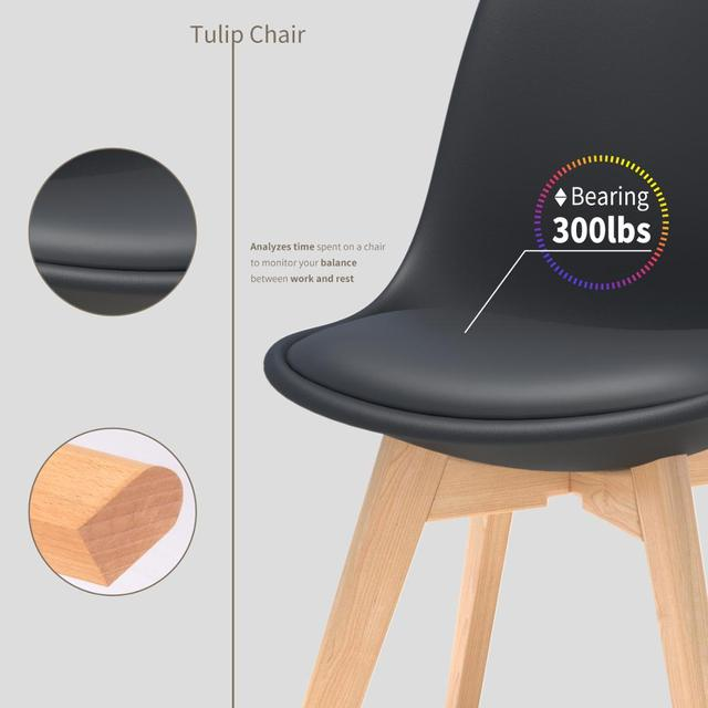 4Pcs/set Modern Style Chair Dining Chairs Plastic Shell Lounge Chair Natural Wood Legs Comfort Coffee Chairs with Seat Cushion 4