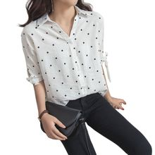 Women Lace Up Bowknot Half Sleeves Blouse Button Down V-Neck Causal Loose Tops Vintage Polka Dot Printed Shirts Plus Size M-4XL