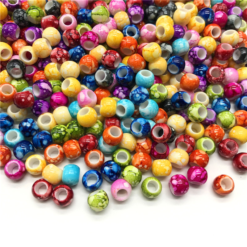 30pcs/lot 12mm Big Hole Round Beads for Jewelry Making Acrylic Beads Multicolor Loose Bead Jewelry DIY Accessory(China)