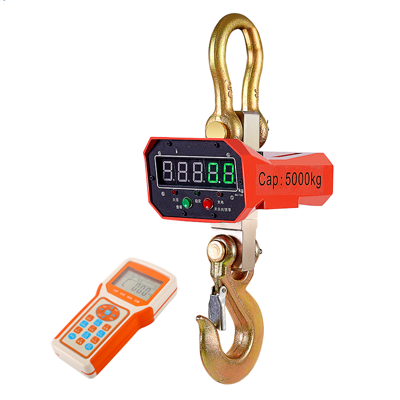 5T/5000kg OCS Digital Lifting Scale Red Or Green Display Aluminum Shell Wireless Remote Control Industrial Weighing Crane Scale