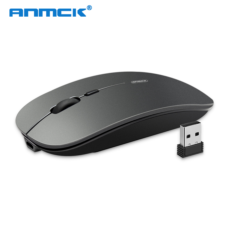 Anmck Computer Wireless Mouse Rechargeable Silent Button Mause Ergonomic 2.4Ghz USB Optical Mice For PC Laptop