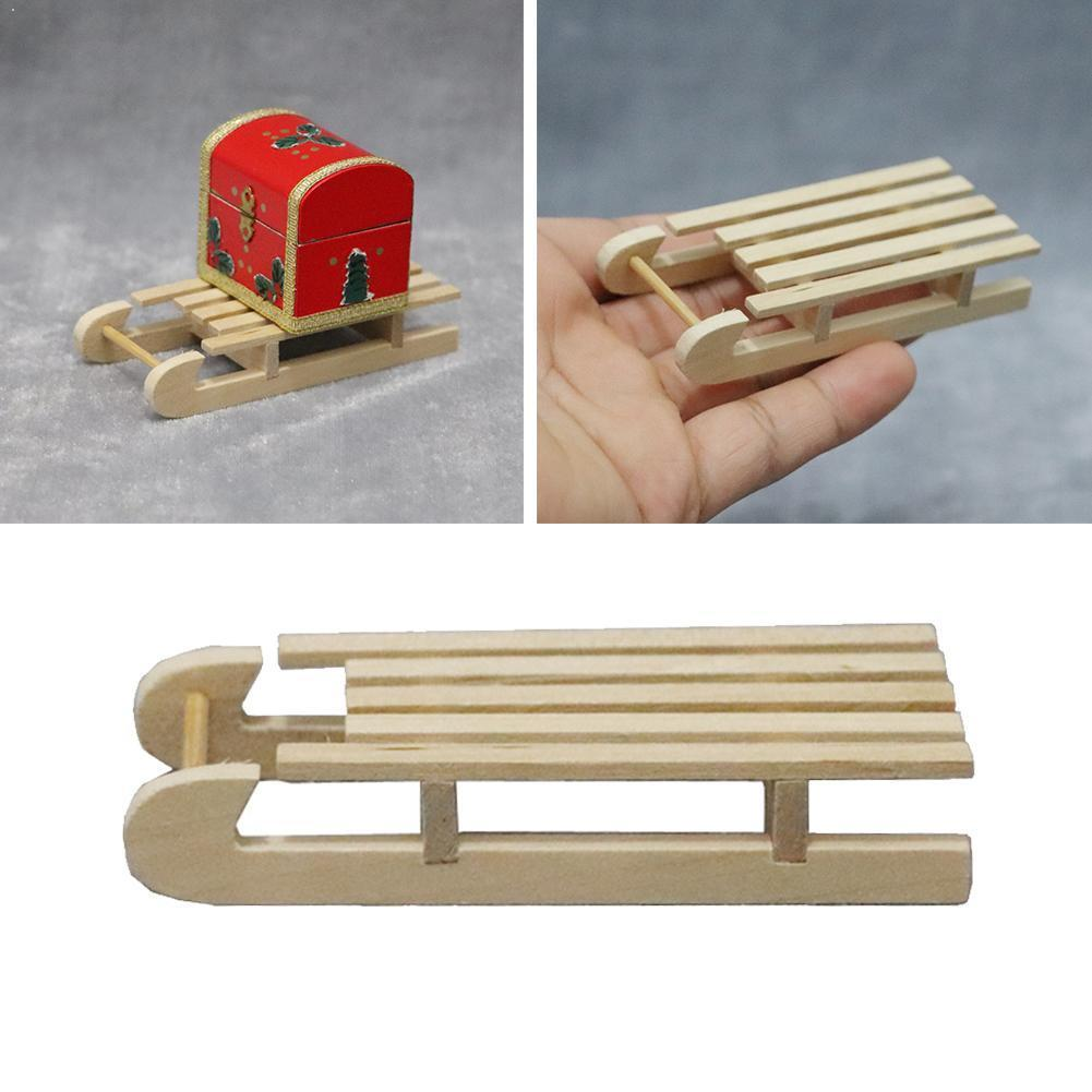 1:12 Doll House Wooden Sled Diy Christmas Scene Model Ornaments Christmas 1pcs Wood Decor Crafts Party Accessories X5Z9