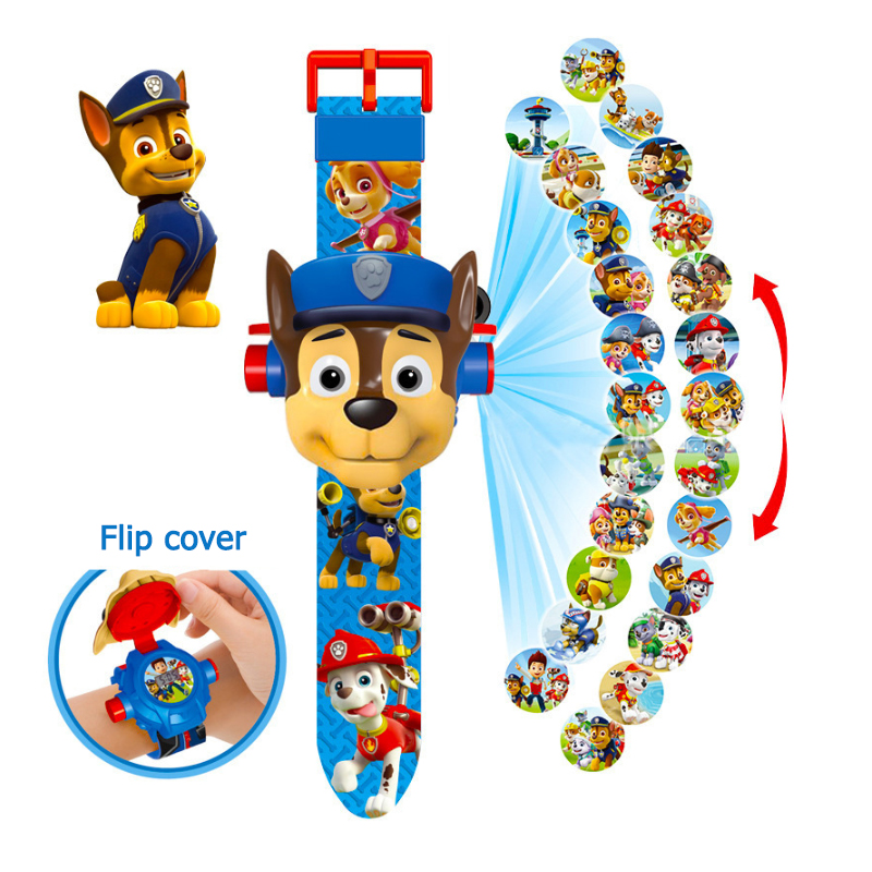 New Paw Patrol Electronic Digital Watch 24 Cartoon Characters Figure Dog Patrol Patrulla Canina Puppy Patrol 3D Projection Watch