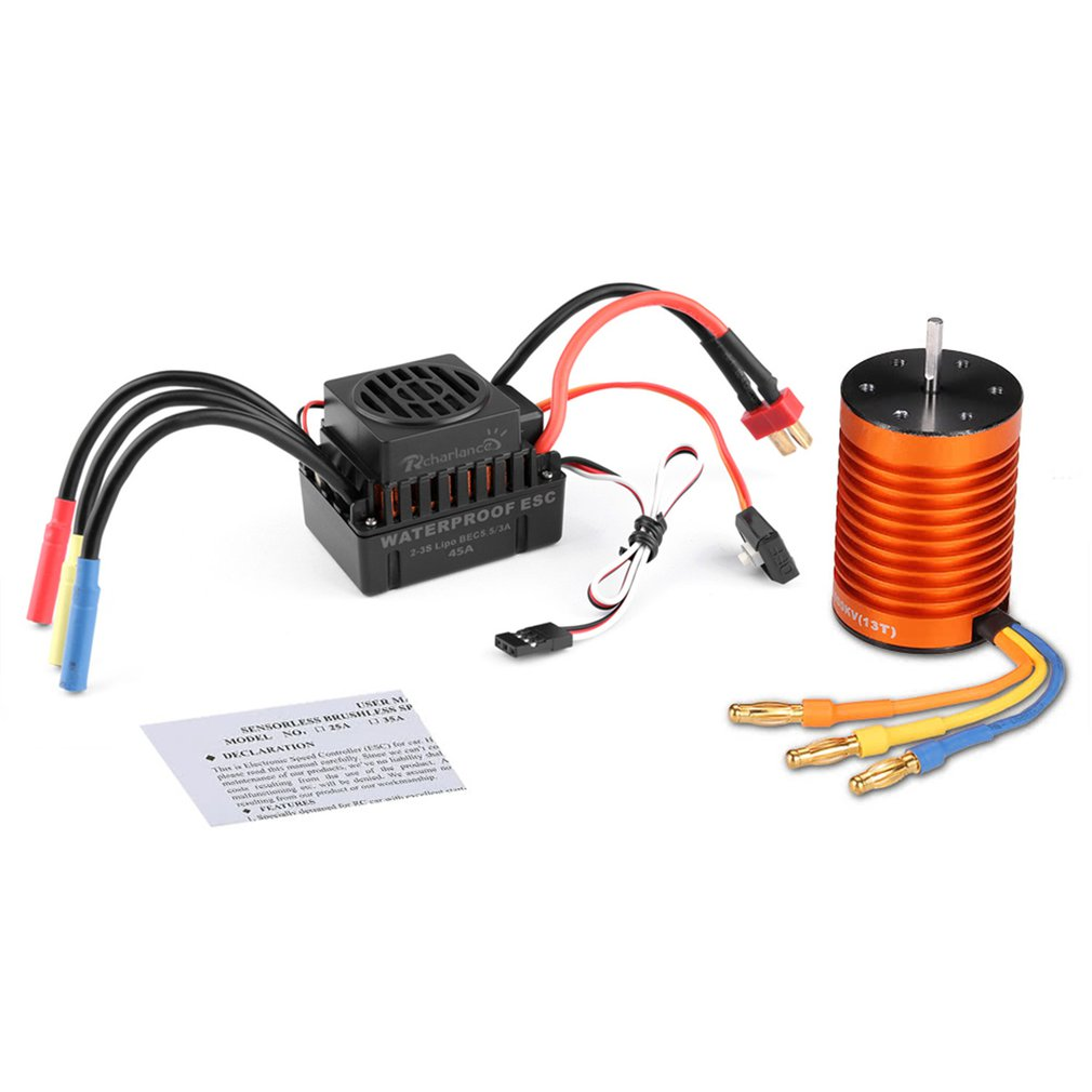 Rcharlance Mutiple Protection Features Brushless Power System Combo 4 Pole 3000KV Motor(5.8V/3A BEC) For 1/10 RC Car