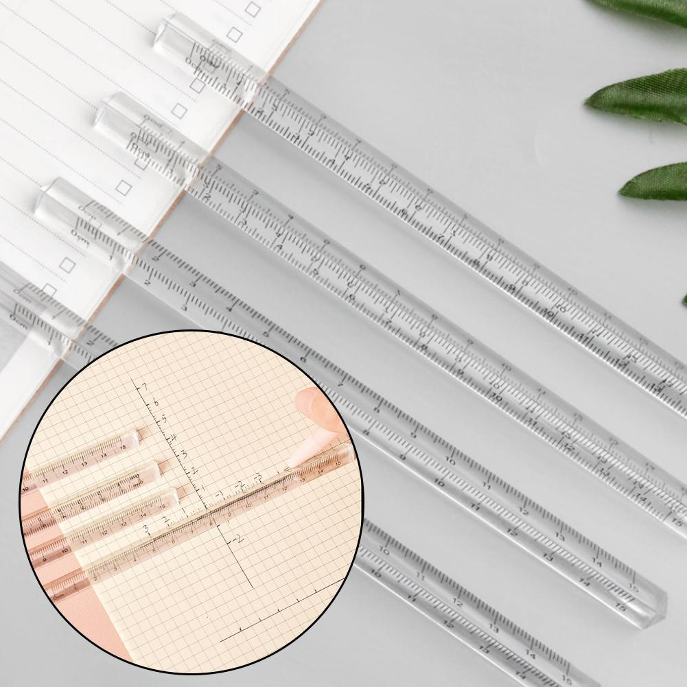 17cm Transparent Straight Ruler Students Stationery Acrylic Shape For Students Measuring Simple Rulers 3d Stationery Tools K3I8