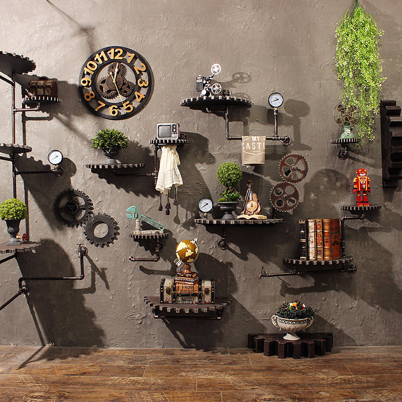 Retro Industrial Style Wall Decoration Of Steel Pipe Wooden Gear Creative Decoration Wall Hanging Decoration Home Room Decor