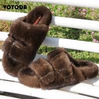 Women Fur Slides Luxury Mink Fur Slippers Outdoor Double Breasted Flat Flip Flops Real Mink Hair Sandals Ladies Plush Mink Shoes