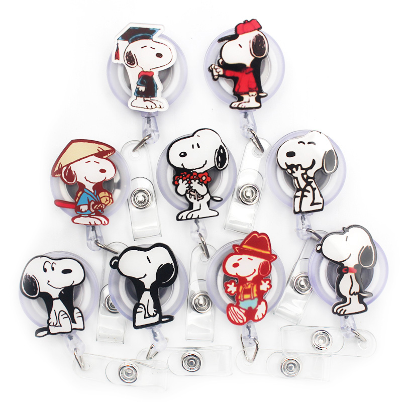 Cartoon Snoopi Dog Acrylic Retractable Badge Reel Nurse Doctor Student Exhibition ID Card Clips Badge Holder Stationery