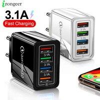 4 USB Ladegerät Schnell Ladung 3,0 4,0 Port Schnelle Lade Wand Adapter Für iPhone 12 11 X Xiaomi Samsung Mobile telefon Ladegerät QC 3,0