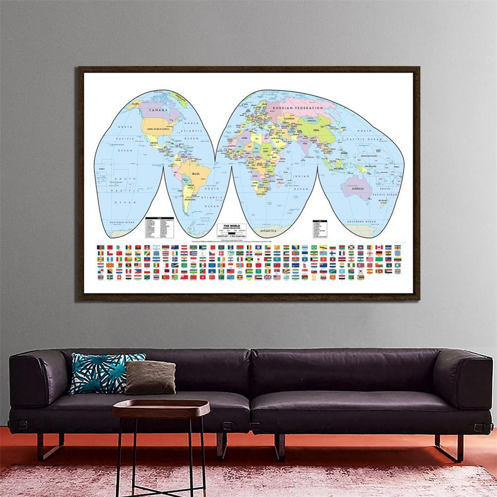 150x100cm The World Goode Projection Map With National Flags For Education And Geographical Research
