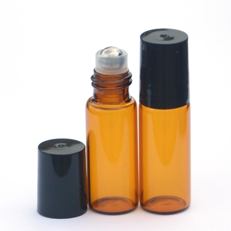 3pcs Essential Oil Roller Bottles Glass Roll-on Bottles with Stainless Steel Roller Balls Amber