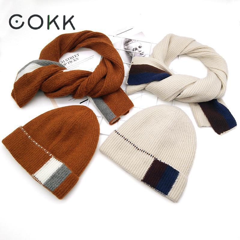 COKK Knitted Hat With Scarf Wool Hat And Scarf Woman Two Sets Ladies Hat & Scarf Warm Velvet Thickening Set Gorros Female Cap