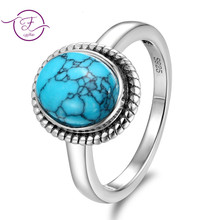 Retro 8*10MM anillo de compromiso piedra turquesa Natural piedra lunar Vintage boda fiesta anillo joyería fina regalo anillos al por mayor