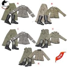 1/6 scale WWII German Suit Military Uniform Clothes Defense Forces uniform shirt Pants Boots Full Set For 12 DIY Action Figure