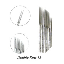 50 Pcs Double Row Needles Manual Pen Blades Microblading 2 15 Pins Fog Eyebrow Tattoo Microblades