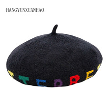 HANGYUNXUANHAO 2019 New Fashion Winter Hats Women Letter Berets Female Thick Wool Beret Hat