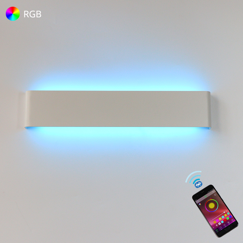 LED Wall Light RGB Dimmable Bluetooth APP Remote Control Wall Lamp For Decorative Atmosphere Warm/Cool White For Indoor Lighting