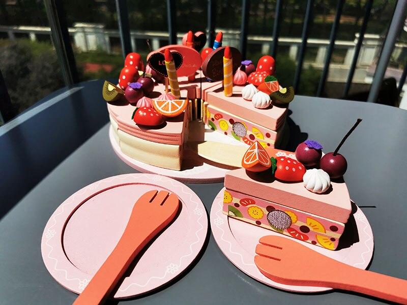 Crianças ímã rosa de madeira bolo de