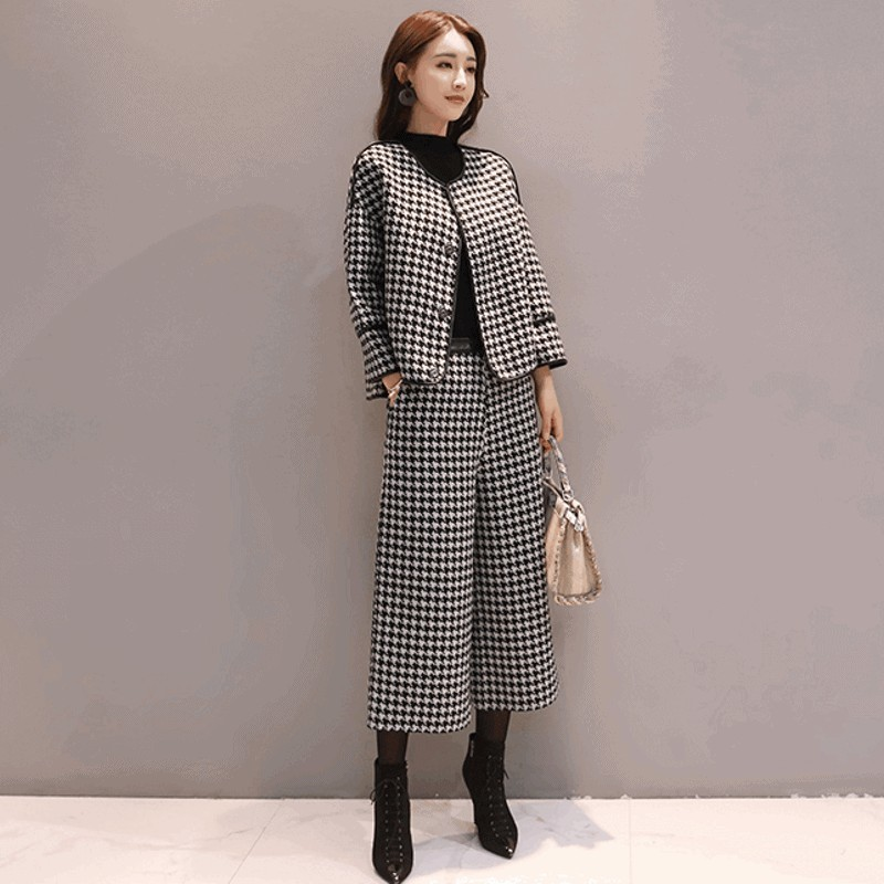 Qualities Autumn Winter Woolen Plaid 2Pcs Pants Outfits Fashion Long Sleeve O-Neck Short Coats Casual Loose Fit Wide Leg Pants
