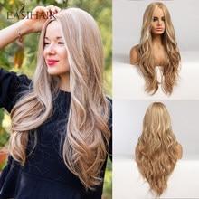 Easihair longo loira ombre perucas sintéticas para mulheres parte média alta densidade temperatura ondulado cosplay perucas resistente ao calor