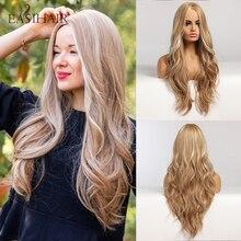 EASIHAIR uzun sarışın Ombre sentetik peruk kadınlar için orta kısmı yüksek yoğunluklu sıcaklık dalgalı Cosplay peruk isıya dayanıklı