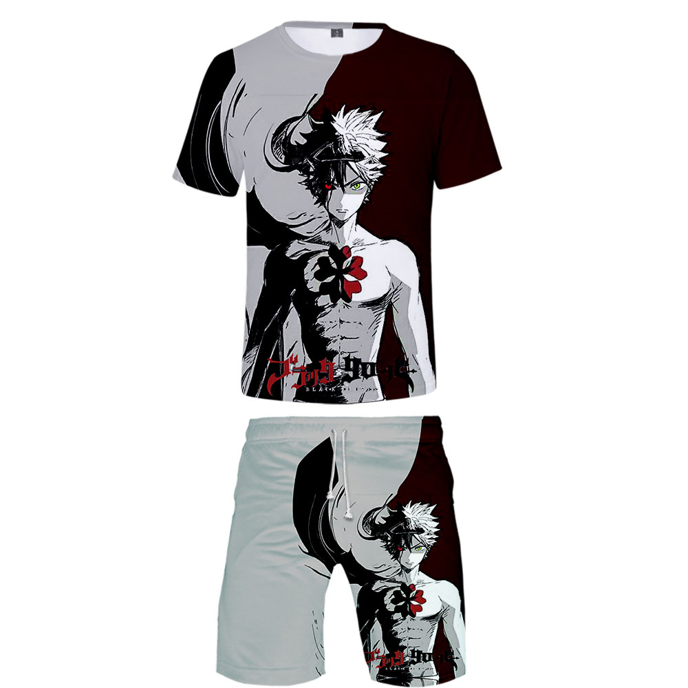 2019 Black Clover Two Piece Set Tshirt And Shorts Harajuku Men Black Clover T Shirt Streetwear Harajuku Short Sleeve For Men
