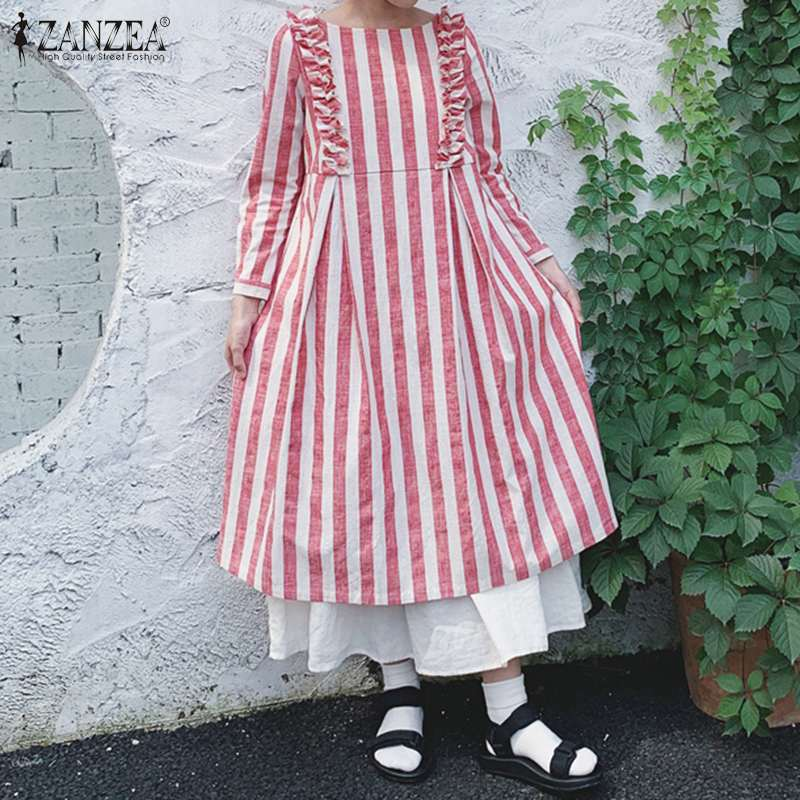 ZANZEA Women Ruffles Sundress Spring Long Sleeve Striped Dress Vintage O Neck Loose Long Vestido Kaftan Plus Size Dresses Robe