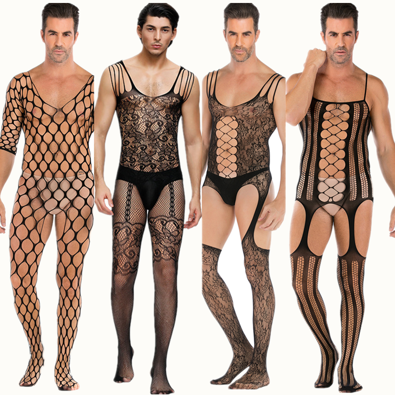 Sexy Lingerie Mesh Teddy Man Netting Bodystocking Hot Porno Cosplay Fun Ondergoed Sexy Kostuums Intimates Man Slang Bodysuits