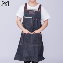 80*65 cm Denim Kitchen Cooking Apron with Adjustable Cotton Strap Large Pockets Blue 34x27 Inches Barista Men and Women Homewear