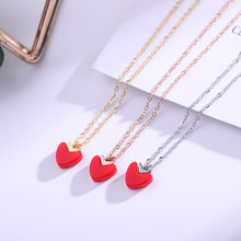 Miss Lady Trendy red heart rose gold silver color Love locket pendant necklace Photo Frame pendant jewelry necklace gifts(China)