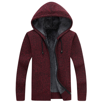 Sweater Mens Clothes Winter Thick Warm Long Cardigan Men With Hood Sweater Coat With Cotton Liner Zipper Coats SW28