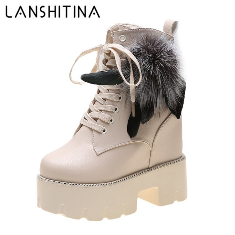 Women Winter Ankle Boots 12CM Warm Fur High Platform Motorcycle Boots Leather High Heels Shoes Woman Chunky Sneakers Winter 2020