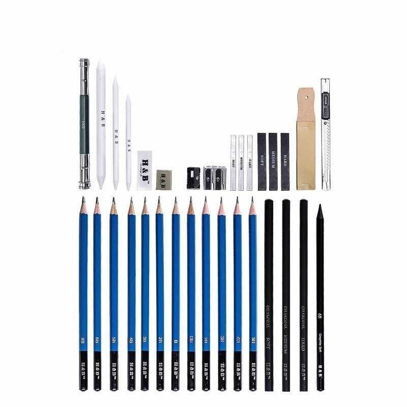 Profesional 2H 3H 4H 5H HB B 3B 4B 5B 6B 8B juego de lápices de dibujo para dibujar suministros de arte creativo para la escuela pinturas 03157
